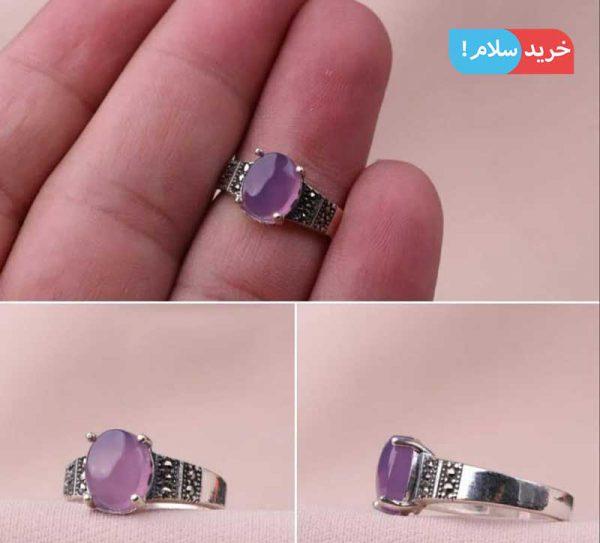 انگشتر عقیق سوسنی زنانه ، انگشتر عقیق آبی زنانه ، انگشتر زنانه عقیق یمن ، انگشتر زنانه عقیق سوسنی یمن